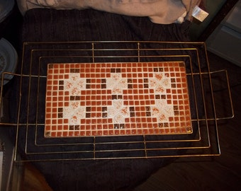 Vintage Serving Tray Brass with Tile inserts handmade heart design