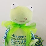 Embroidered Birth Announcement Birth Block Frog Pastel Stuffed Plush Animal Personalized Baby Gift, from Felicia's Fancies Baby Boutique