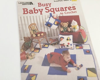 Crochet Pattern, Crochet Baby Pattern, Crochet Squares, Leisure Arts 968, Baby Patterns, Crochet Baby Afghan, Busy Squares, Busy Blanket