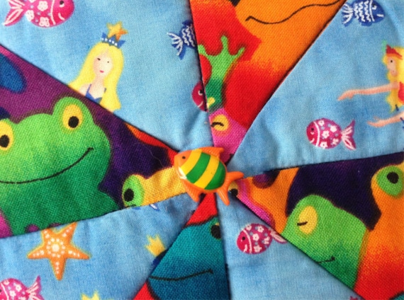 Candle Mat Whimsical mat Mug Rug Pot Holder Trivet Frogs and Mermaids Play Mat Mini Quilt Table protector