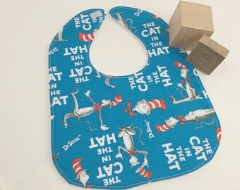 Baby Bib, Cat In the Hat Bib, Dr Seuss Bib, Baby Gift, Baby Feeding, Blue Baby Bib,  Baby Shower Gift, Newborn Gift, Unisex Baby, Baby Care