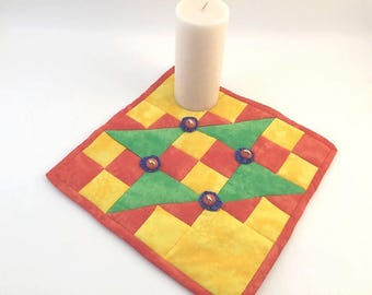 Mini Quilt, Trivet, Pot Holder, Mug Rug, Candle Mat, Table Topper, Primary Colors, Orange and Yellow