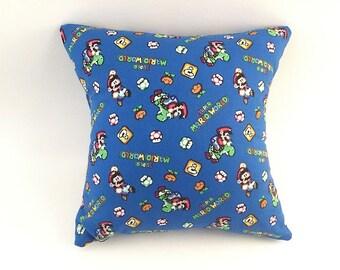 Mario Pillow, Kids Pillow, Super Mario Fans, Mario Movie,  Kids Bedroom, Mario Brothers, Blue Pillow, Handmade Pillow, Blue and Green, Yoshi