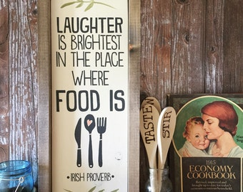 """Laughter is Brightest - Rustic Wooden Sign (7""""x17"""")"""