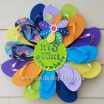 "Adorable ""It's 5 O'clock Somewhere"" Flip Flop Wreath Door Wall Decor Unique Gift Beach Ocean Coastal"
