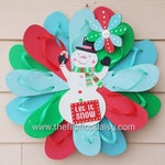 Beautiful Winter Snowman Flip Flop Wreath Door Decor Beach Holiday
