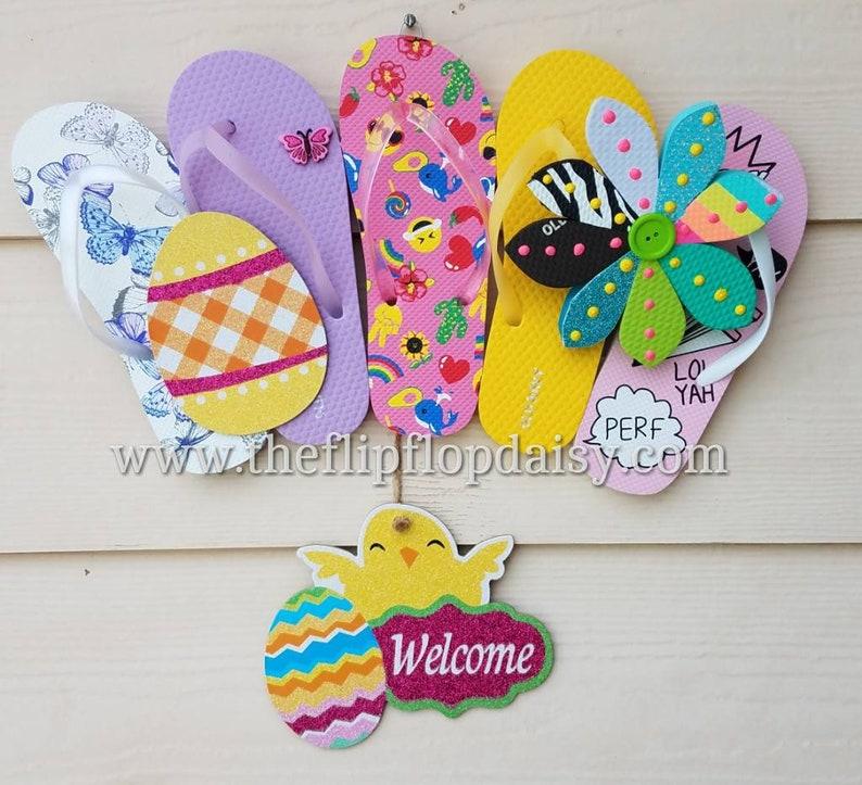 Beautiful Easter Flip Flop Row Wreath Lil Chick Beach Door Decor Egg Glitter