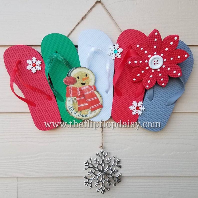 Adorable Winter Let it Snow  Flip Flop Row Wreath image 0