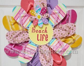 Beach Life Flip Flop Wreath Door Decor