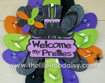 Beautiful Halloween Flip Flop Wreath Beach Door Wall Decor Witch Shoes/Welcome My Pretties