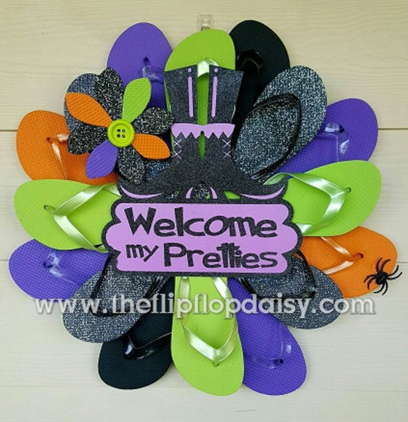Beautiful Halloween Flip Flop Wreath Beach Door Wall Decor image 0