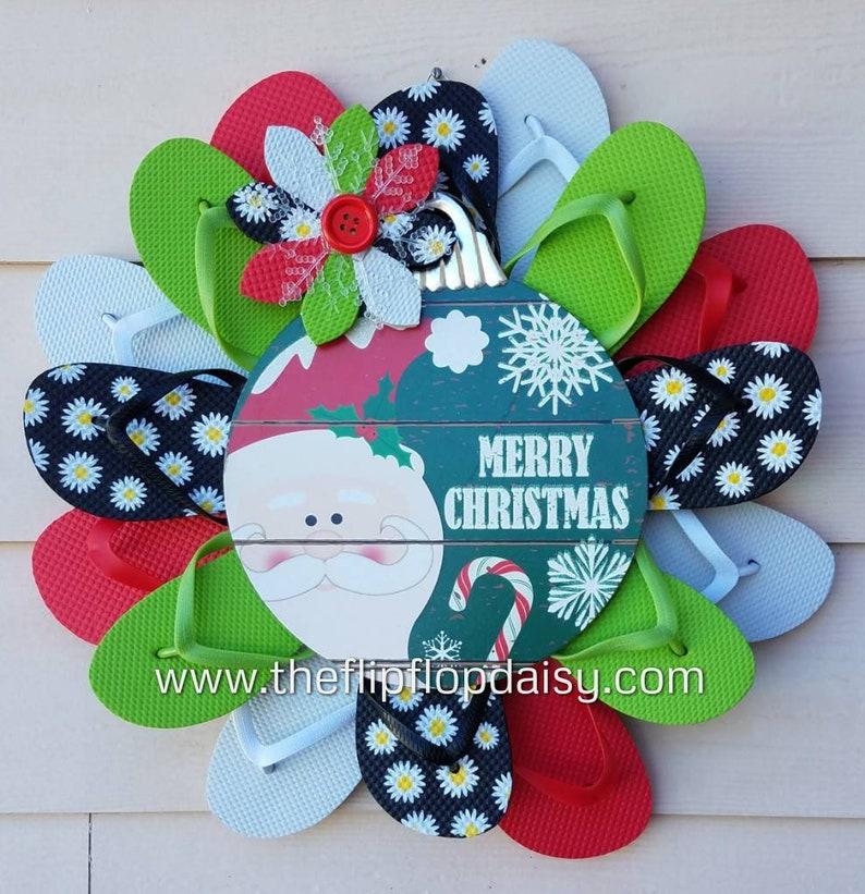 Adorable Merry Christmas Flip Flop Wreath Santa Beach Florida image 0