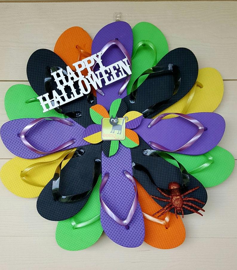 Happy Halloween Handmade Flip Flop Wreath Door Wall Decor image 0
