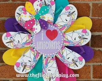 Unicorn Lovers Flip Flop Wreath Beach Door Wall Decor Patio Coastal Florida Ocean Styles