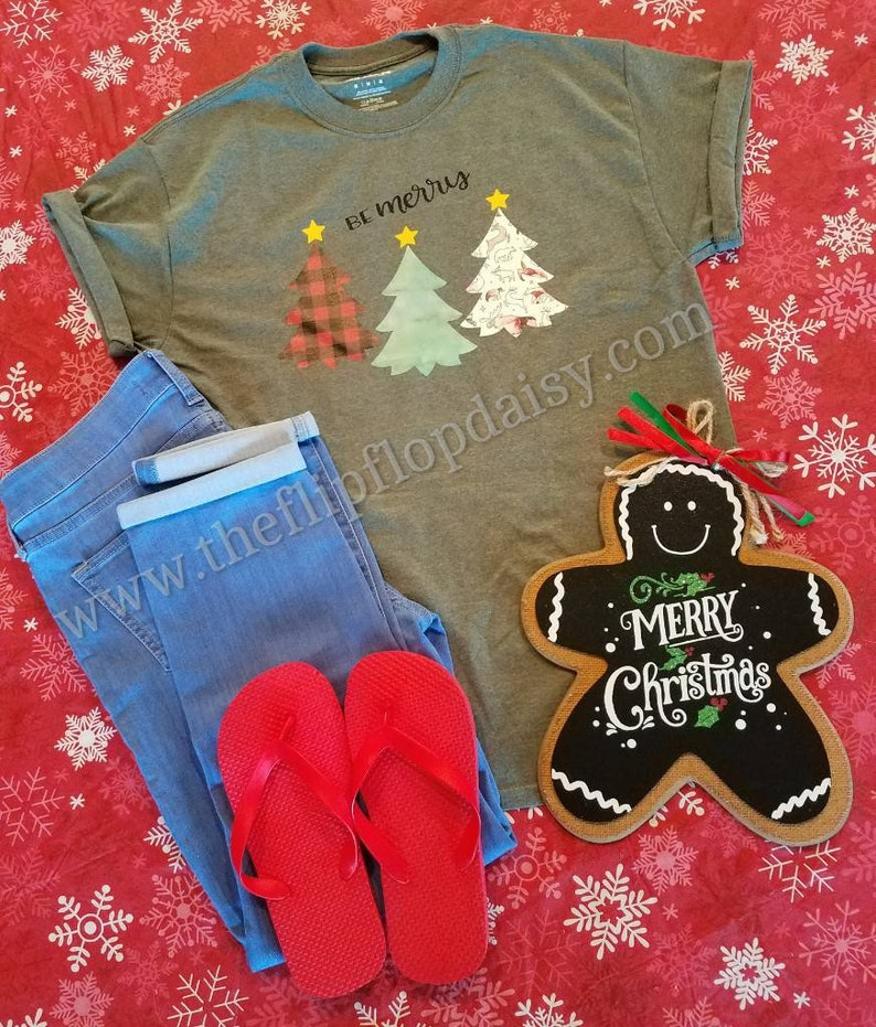 Be Merry T Shirt Tee Christmas Glitter Lumberjack Plaid Tree image 0