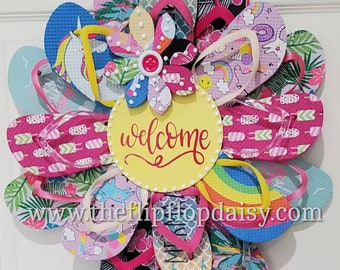 Beautiful Welcome Flip Flop Wreath