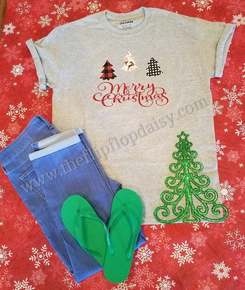Merry Christmas T Shirt Tee Christmas Red Glitter Lumberjack image 0