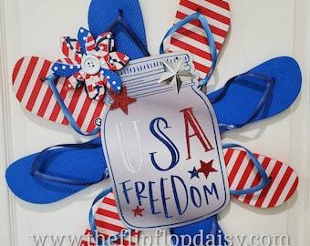 Patriotic USA Freedom Flip Flop Wreath
