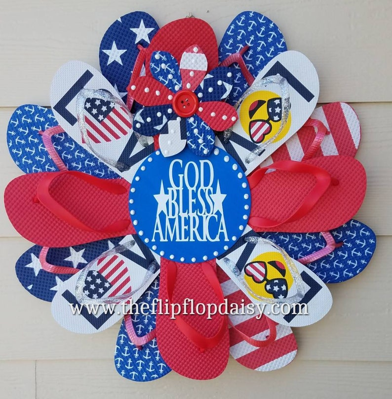 Beautiful Patriotic God Bless America Flip Flop image 0