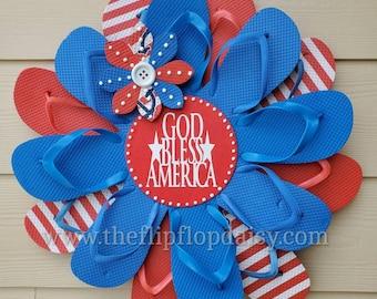"Adorable Patriotic ""God Bless America"" Flip Flop Wreath Door Wall Decor Unique Gift Beach Ocean Coastal USA Red White Blue"