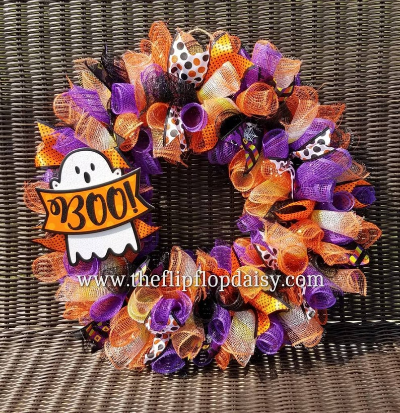 Cute Halloween Deco Mesh Wreath Black Orange Purple Ghost BOO image 0