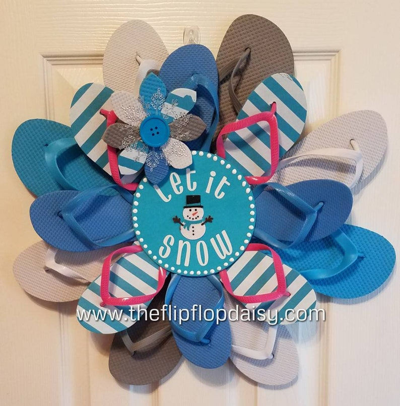 Beautiful Let it Snow Flip Flop Wreath Door Decor Beach Ocean image 0