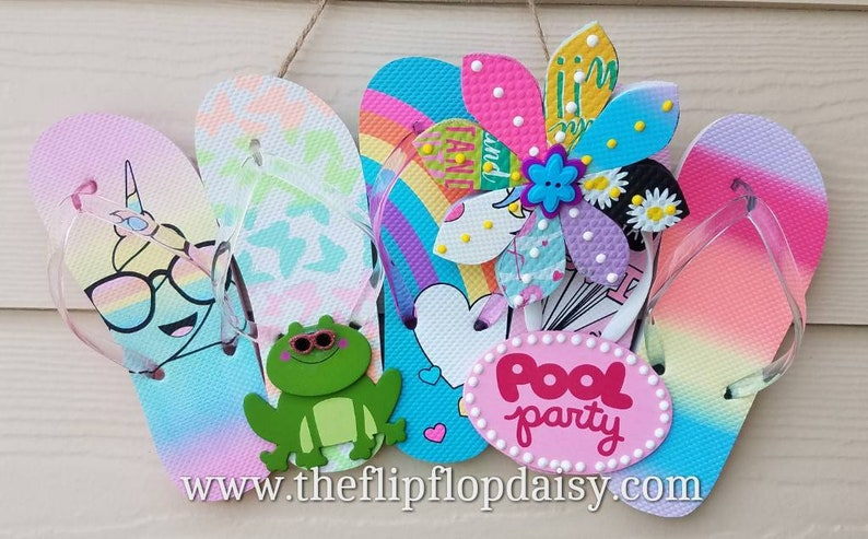 Adorable Pool Party Flip Flop Row Wreath Beach image 0