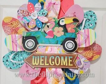 Welcome Flamingo & Toucan Flip Flop Wreath Door Decor