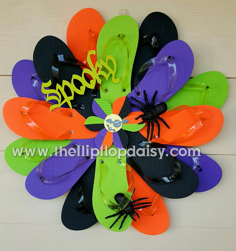 Beautiful & Unique Handmade Halloween Flip Flop Wreath Door image 0