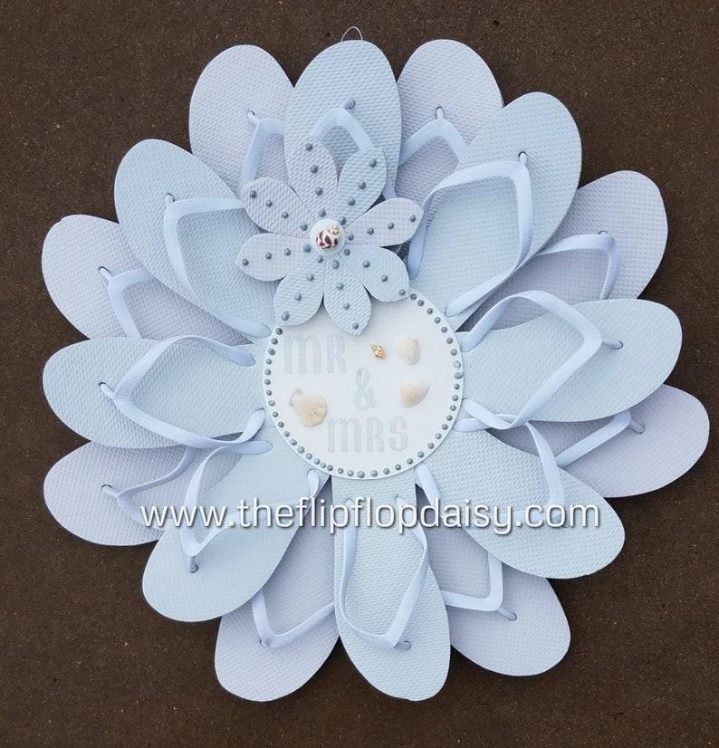 Beautiful Beach Wedding Flip Flop Wreath w/Silver Glitter Door image 0