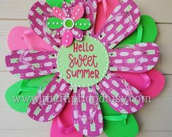 Hello Sweet Summer Flip Flop Wreath