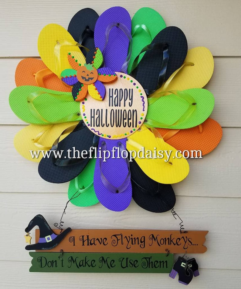 Beautiful Handmade Halloween Flip Flop Wreath Flying Monkeys image 0
