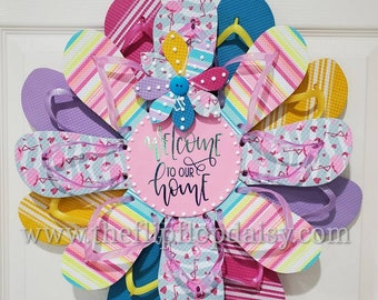 Welcome to Our Home Flip Flop Wreath Door Wall Decor