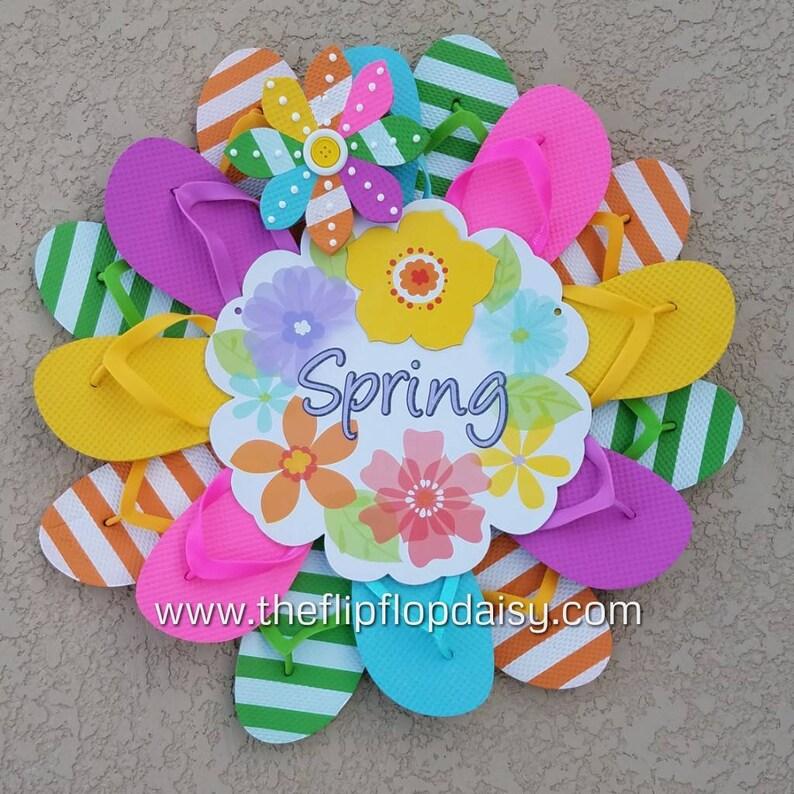 Adorable  Spring  Flip Flop Wreath Door Wall Decor image 0