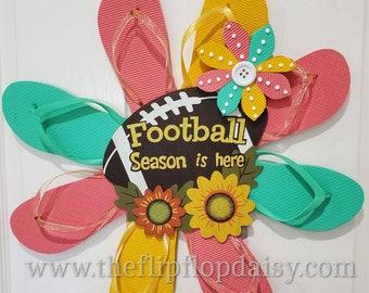 Football Season is Here Flip Flop Wreath Door Decor Fall Coastal