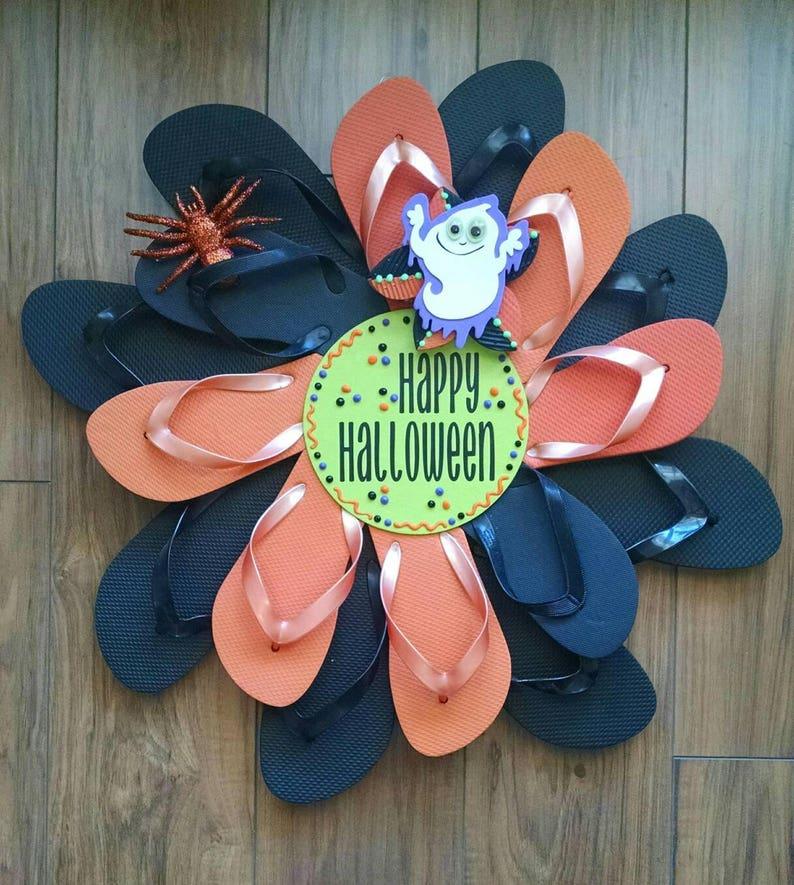 Unique Handmade Halloween Flip Flop Wreath Black & Orange image 0