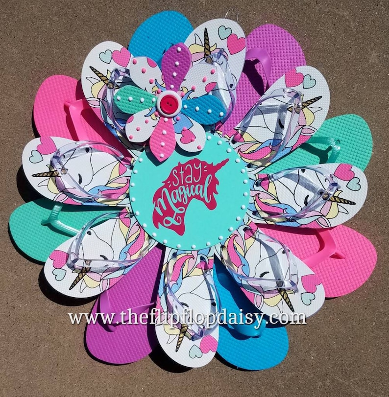 Beautiful Stay Magical Unicorn Flip Flop Wreath image 0