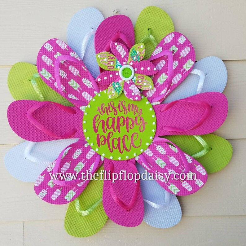 Adorable This is My Happy Place Flip Flop Wreath image 0