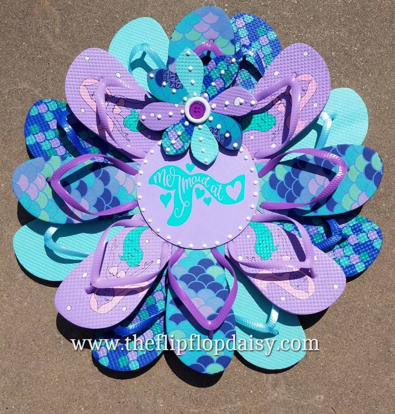 Beautiful Mermaid at Heart Flip Flop Wreath Door image 0