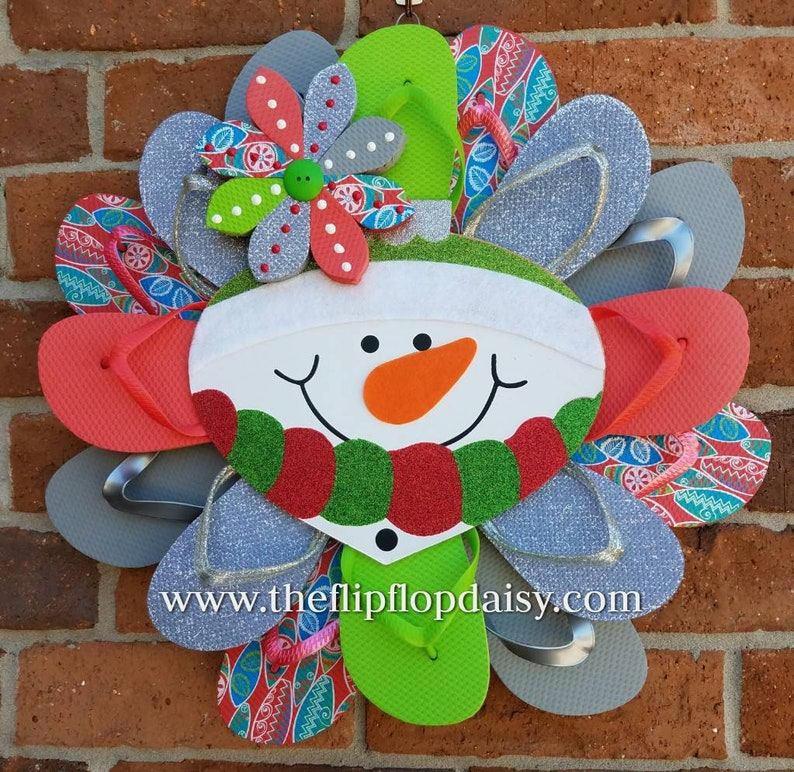 Beautiful Winter Snowman Flip Flop Wreath Door Decor Beach image 0