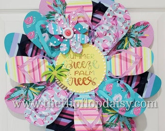 Beautiful Summer Breeze and Palm Trees Flip Flop Wreath