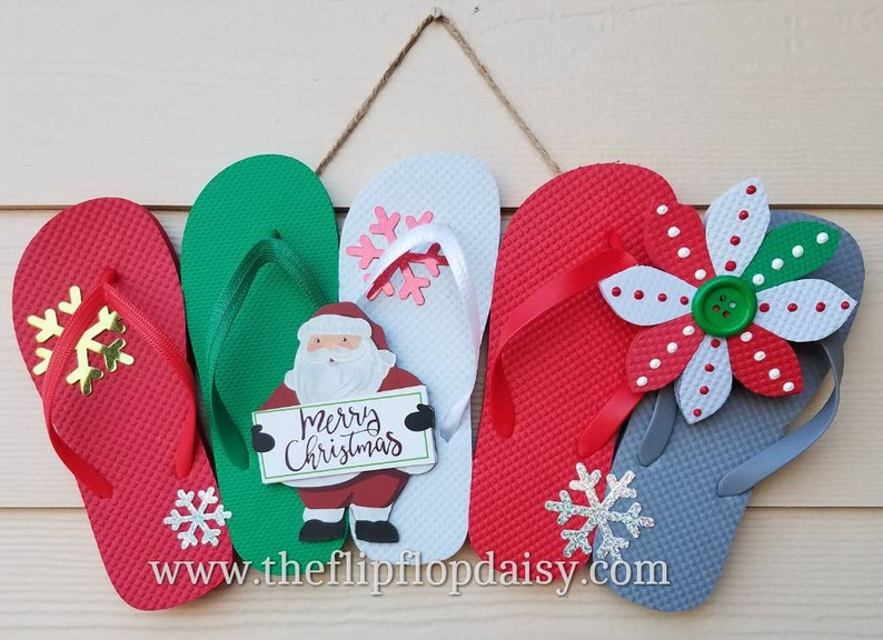 Adorable Santa  Merry Christmas   Flip Flop Row image 0