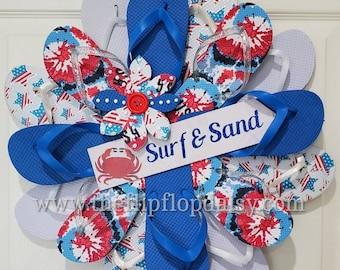 Adorable Surf & Sand Flip Flop Wreath Crab