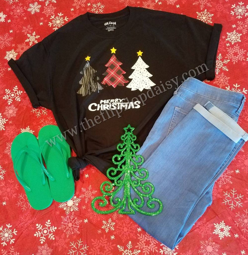Merry Christmas T Shirt Tee Glitter Lumberjack Plaid Tree Size image 0