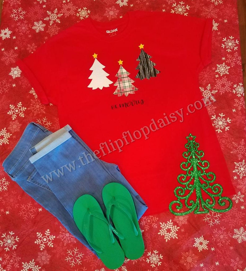 Be Merry Christmas T Shirt Tee Glitter Lumberjack Plaid Tree image 0
