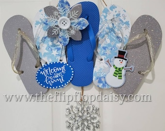 Adorable Welcome to Our Home Blue and White Snowman Flip Flop Row Wreath Wall Hanger Beach Door Decor Florida Holiday Winter