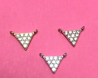 Cubic Zirconia Charms ZRCN783 V Necklace Charm 2x40mm Gunmetal Plated Chevron Chevron Pendant Micro Pave Charms Micro Pave Triangle