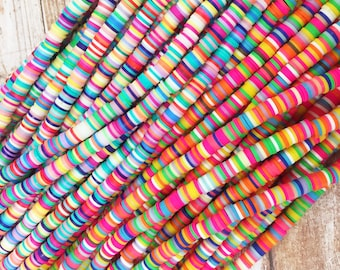 Disc Beads, 6mm Disc Beads, Polymer Clay Disc Beads,Disc Beads, Multi Color Disc Beads,Multi Color Polymer Clay Disc Beads,Accent Disc Beads