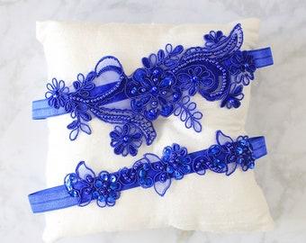 Blue wedding garters Double Heart Wedding garter ROYAL blue Garter set prom garters