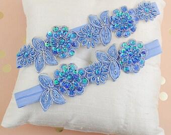 BIG SALE Wedding Garter Set Navy blue  Garter Set on a  Lace Garter Style # GS0014